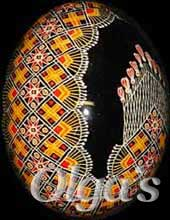 Ukrainian Easter eggs. Chicken pysanky.
